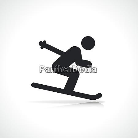 vector skier on ski icon