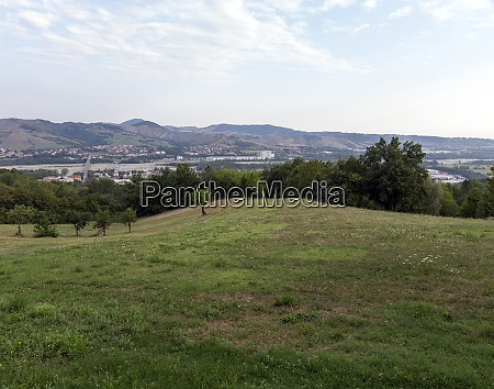 fields along via francigena in borgo