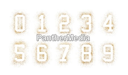 golden numbers made of glitter isolated