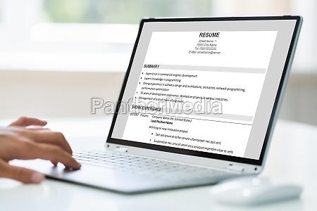 job resume on computer