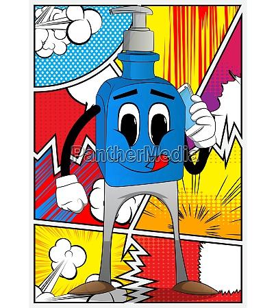 bottle of hand sanitizer talking on
