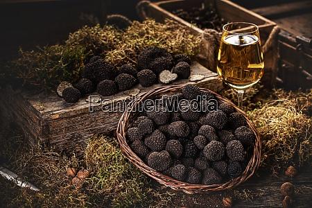 freshly picked black truffles