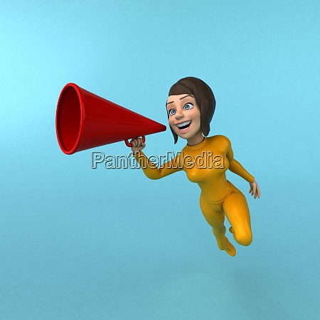 fun 3d cartoon yellow girl