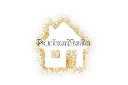 golden house shape made of glitter