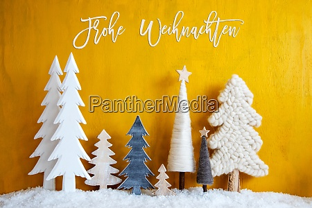 christmas trees snow yellow background frohe
