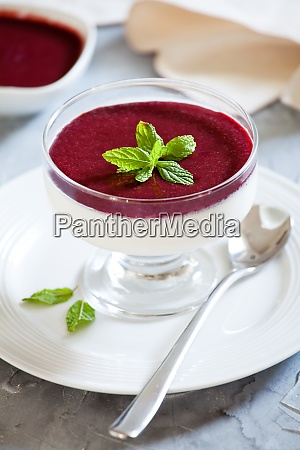 homemade panna cotta with cherry topping