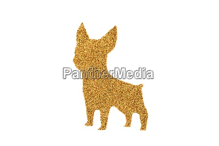 golden small pet dog made of