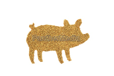 golden pig made of glitter