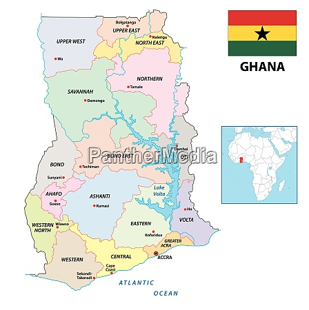new administrative vector map of ghana