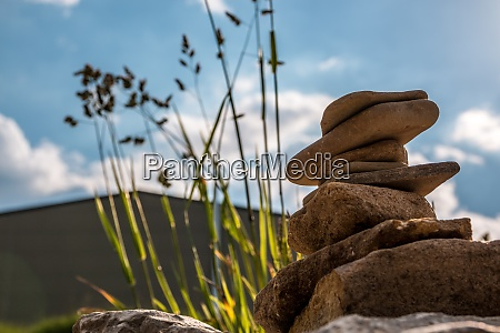 little towers made of stones built