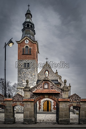 old stone and brick church with