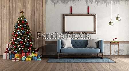 retro style living room with christmas
