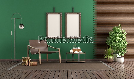 fashionable leather armchair in a green