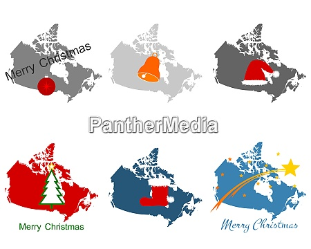 karte von kanada mit weihnachtssymbolen