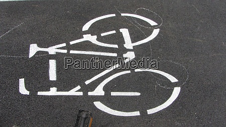 bicycle path marking on the street