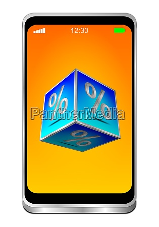 smartphone with blue discount button 0n