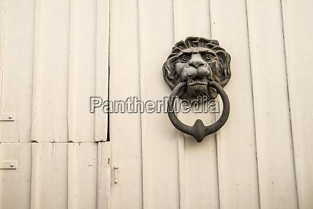old door knocker lion head at
