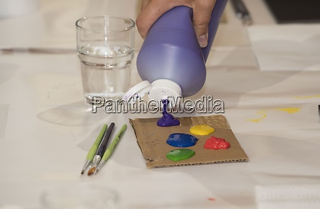 painting with paints in the spare