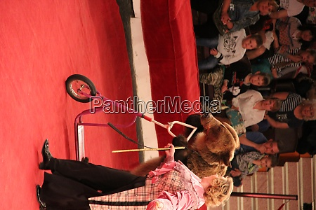 animal trainer helps to trained bear
