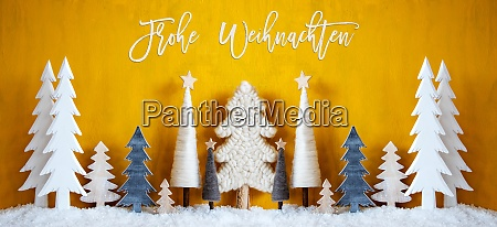 banner trees snow yellow background frohe