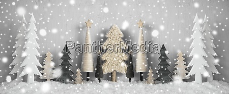 banner christmas trees snow yellow background