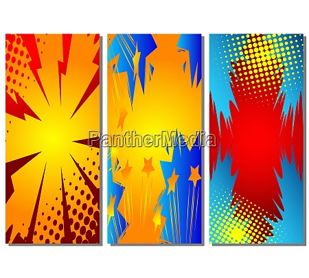 cartoon design colored standing banners