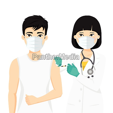 female doctor vaccinating patient using a