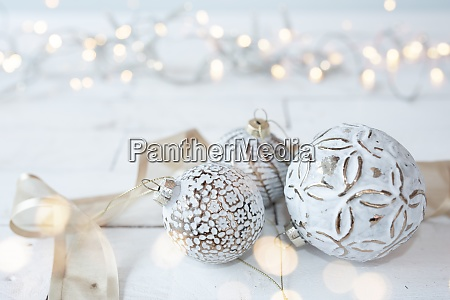 beautiful white christmas balls