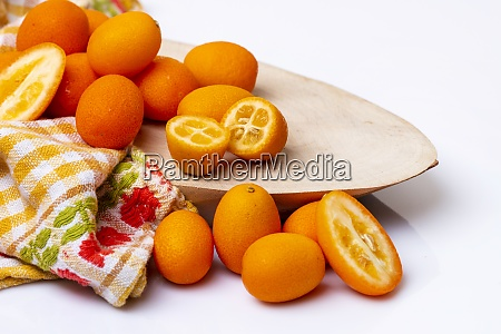 tiny tropical kumquat fruits