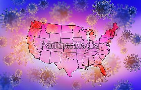 usa map with coronavirus