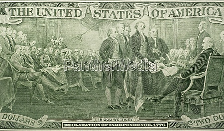 us paper bill with declaration of