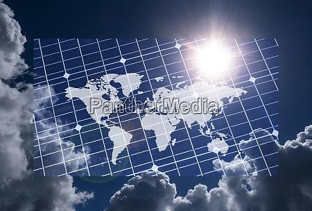 world map on solar panel