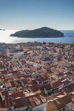 croatia dubrovnik elevated view of old