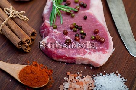 raw uncooked ribeye beef steak