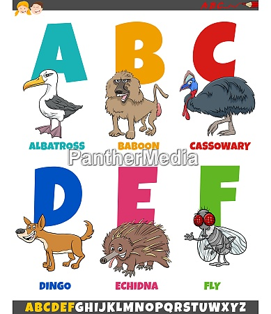 educational cartoon alphabet collection with funny