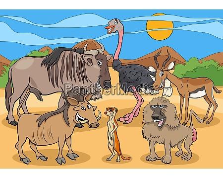 cartoon african wild animal characters group