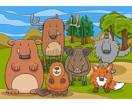 wild mammals animal characters group cartoon