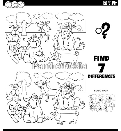differences educational game with dogs coloring
