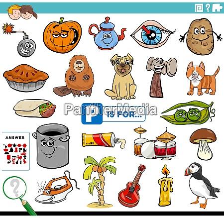 letter p words educational task for