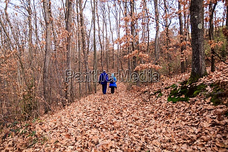 couple hike in forest