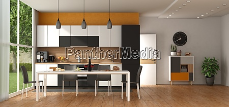 modern black and white kitchen with