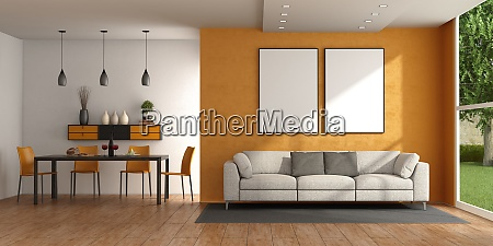 modern living room with sofa and