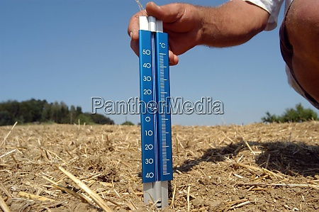 thermometer in the soil in summer