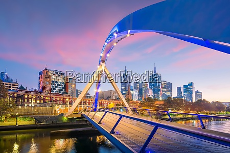 melbourne city skyline at twilight in