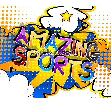 amazing sports comic book style cartoon