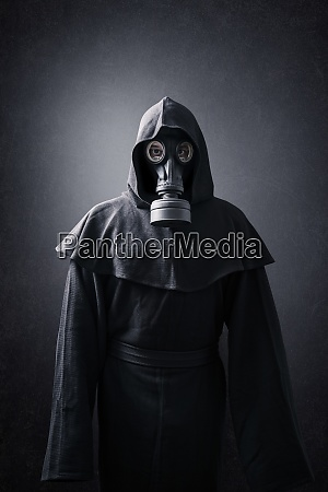 man in a gas mask and
