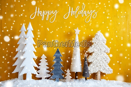 christmas trees snowflakes yellow background happy