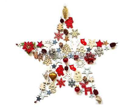 christmas star decoration and ornament isolated