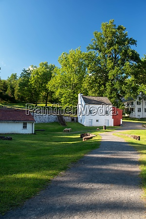quaint historic village scene with with