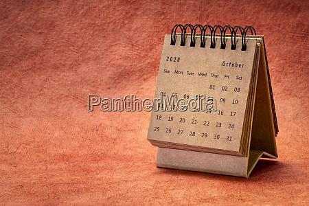 october 2020 spiral desktop calendar